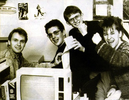 Zzap!64 group pic May 1988 (Steve Jarratt, Gordon Houghton, Paul Glancey and Julian Rignall)