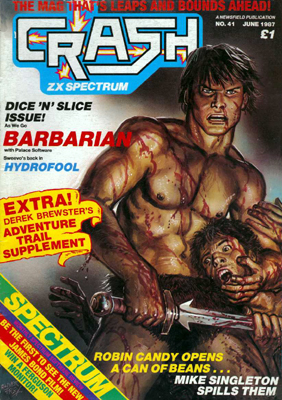 Crash issue 41 cover featuring the controversial Barbarian illustration