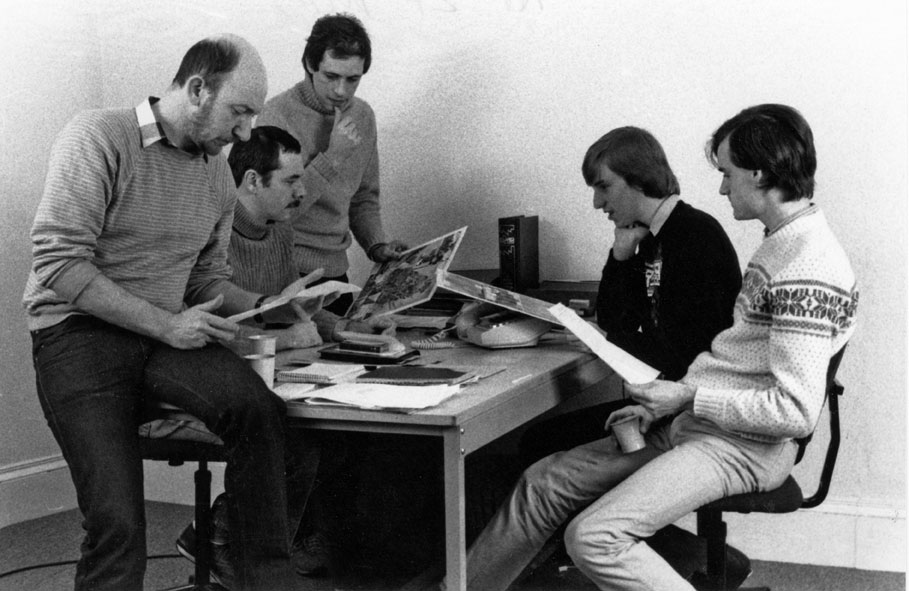 Crash editorial, late 1984, King Street — David Western (production designer), Roger Kean (editor), Oliver Frey (art), Matthew Uffindell (staff writer/reviewer), Kevin Foster (assistant editor)