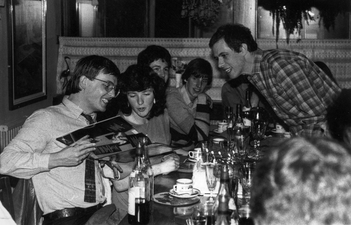 Zzap!64 launch party with Chris Anderson, (launch editor), Denise Roberts (Subscriptions/mail order), Bob Wade (staff writer), Matthew Uffindell, Oliver Frey